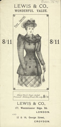 Advert For Lewis & Co, Clothier & Milliner